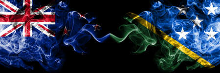 New Zealand vs Solomon Islands smoky mystic flags placed side by side. Thick colored silky abstract smoke flags