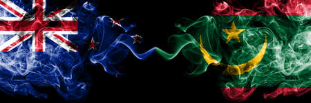 New Zealand vs Mauritania, Mauritanian smoky mystic flags placed side by side. Thick colored silky abstract smoke flags