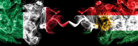 Italy vs Kurdistan, Kurdish smoky mystic flags placed side by side. Thick colored silky abstract smoke flags of Italian and Kurdistan, Kurdish