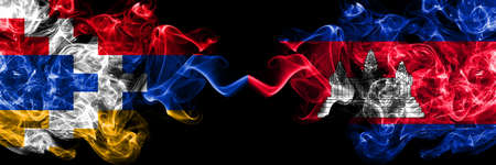Nagorno-Karabakh, Artsakh vs Cambodia, Cambodian smoky mystic flags placed side by side. Thick colored silky abstract smoke flags Stok Fotoğraf