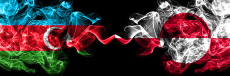 Azerbaijan, Azerbaijani vs Greenland smoky mystic flags placed side by side. Thick colored silky abstract smoke flags