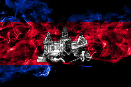 Cambodia, Cambodian, Khmer smoke flag isolated on black background