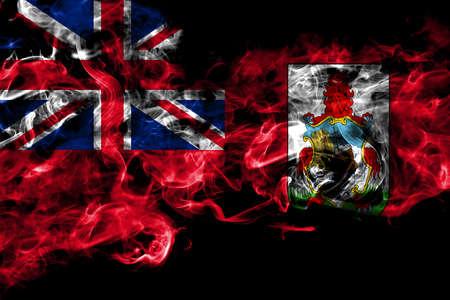 British, Britain, Bermuda smoke flag isolated on black background Banco de Imagens
