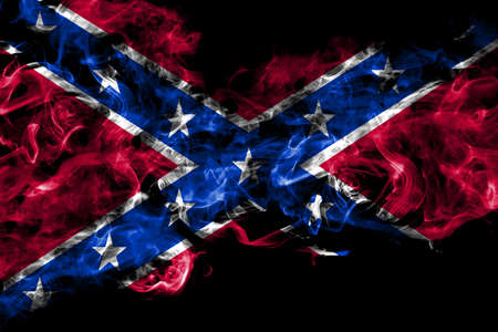 United States of America, America, US, USA, American, Confederate Navy Jack smoke flag isolated on black background