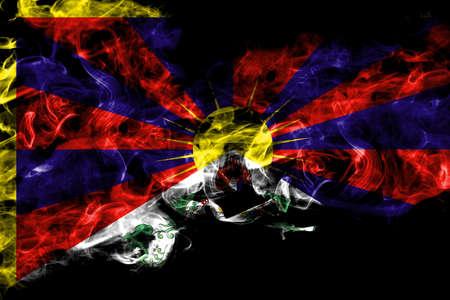 Tibet, Tibetan, China, Chinese  smoke flag isolated on black background