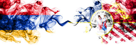 Armenia vs United States of America, America, US, USA, American, Detroit, Michigan smoky mystic flags placed side by side. Thick colored silky abstract smoke flags Фото со стока