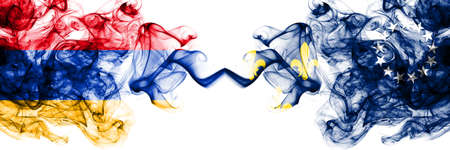 Armenia vs United States of America, America, US, USA, American, Louisville, Kentucky smoky mystic flags placed side by side. Thick colored silky abstract smoke flags