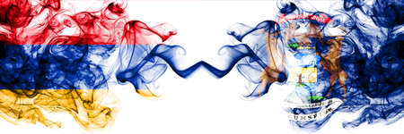 Armenia vs United States of America, America, US, USA, American, Michigan smoky mystic flags placed side by side. Thick colored silky abstract smoke flags