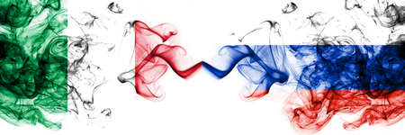 Italy vs Russia, Russian smoky mystic flags placed side by side. Thick colored silky abstract smoke flags