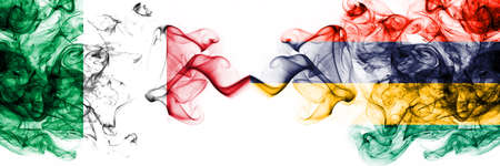Italy vs Mauritius, Mauritian smoky mystic flags placed side by side. Thick colored silky abstract smoke flags