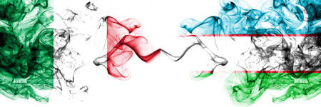 Italy vs Uzbekistan, Uzbek smoky mystic flags placed side by side. Thick colored silky abstract smoke flags 版權商用圖片