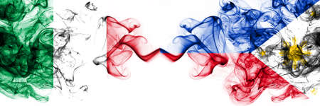 Italy vs Philippines, Filipino smoky mystic flags placed side by side. Thick colored silky abstract smoke flags 版權商用圖片