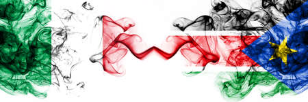 Italy vs South Sudan smoky mystic flags placed side by side. Thick colored silky abstract smoke flags