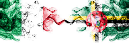 Italy vs Dominica smoky mystic flags placed side by side. Thick colored silky abstract smoke flags