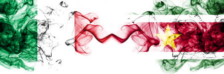 Italy vs Suriname, Surinamese smoky mystic flags placed side by side. Thick colored silky abstract smoke flags