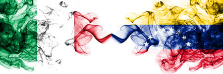 Italy vs Venezuela, Venezuelan smoky mystic flags placed side by side. Thick colored silky abstract smoke flags 版權商用圖片