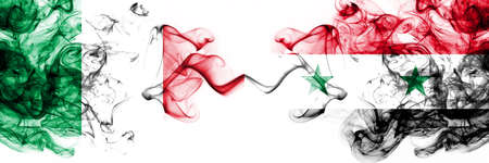Italy vs Syria, Syrian smoky mystic flags placed side by side. Thick colored silky abstract smoke flags 版權商用圖片
