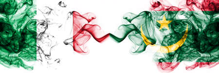 Italy vs Mauritania, Mauritanian smoky mystic flags placed side by side. Thick colored silky abstract smoke flags