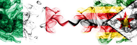 Italy vs Zimbabwe, Zimbabwean smoky mystic flags placed side by side. Thick colored silky abstract smoke flags