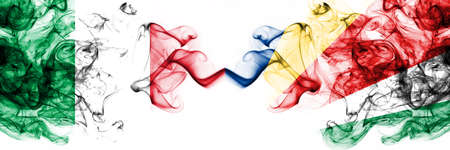 Italy vs Seychelles, Seychelloise smoky mystic flags placed side by side. Thick colored silky abstract smoke flags