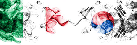 Italy vs South Korea, Korean smoky mystic flags placed side by side. Thick colored silky abstract smoke flags 版權商用圖片