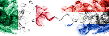 Italy vs Paraguay, Paraguayan smoky mystic flags placed side by side. Thick colored silky abstract smoke flags 版權商用圖片