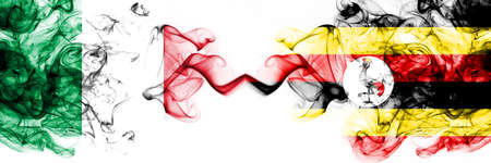 Italy vs Uganda, Ugandan smoky mystic flags placed side by side. Thick colored silky abstract smoke flags