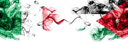 Italy vs Jordan, Jordanian smoky mystic flags placed side by side. Thick colored silky abstract smoke flags