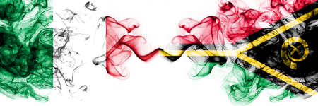 Italy vs Vanuatu smoky mystic flags placed side by side. Thick colored silky abstract smoke flags