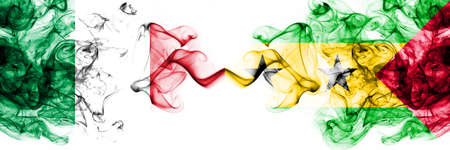 Italy vs Sao Tome and Principe smoky mystic flags placed side by side. Thick colored silky abstract smoke flags