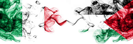 Italy vs Palestine, Palestinian smoky mystic flags placed side by side. Thick colored silky abstract smoke flags 版權商用圖片