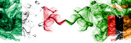 Italy vs Zambia, Zambian smoky mystic flags placed side by side. Thick colored silky abstract smoke flags 版權商用圖片