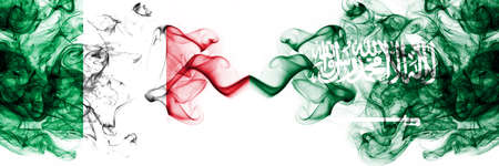 Italy vs Saudi Arabia, Arabian smoky mystic flags placed side by side. Thick colored silky abstract smoke flags 版權商用圖片