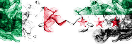 Italy vs Syria, Syrian Arab Republic, opposition smoky mystic flags placed side by side. Thick colored silky abstract smoke flags