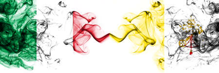 Italy vs Vatican city smoky mystic flags placed side by side. Thick colored silky abstract smoke flags