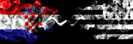 Croatia, Croatian vs Brittany, Bretagne, Bretons smoky mystic flags placed side by side. Thick colored silky abstract smoke flags. Stock Photo