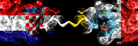 Croatia, Croatian vs United States of America, America, US, USA, American, Columbus, Ohio smoky mystic flags placed side by side. Thick colored silky abstract smoke flags. Stock Photo