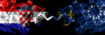 Croatia, Croatian vs United States of America, America, US, USA, American, Louisville, Kentucky smoky mystic flags placed side by side. Thick colored silky abstract smoke flags.