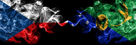 Czech Republic, Czech vs Australia, Australian, Christmas Island smoky mystic flags placed side by side. Thick colored silky abstract smoke flags.