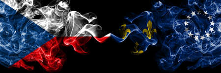 Czech Republic, Czech vs United States of America, America, US, USA, American, Louisville, Kentucky smoky mystic flags placed side by side. Thick colored silky abstract smoke flags. Stock Photo