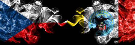 Czech Republic, Czech vs United States of America, America, US, USA, American, Columbus, Ohio smoky mystic flags placed side by side. Thick colored silky abstract smoke flags.