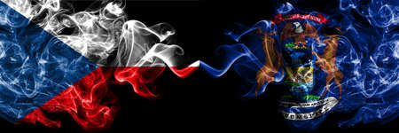 Czech Republic, Czech vs United States of America, America, US, USA, American, Michigan smoky mystic flags placed side by side. Thick colored silky abstract smoke flags.