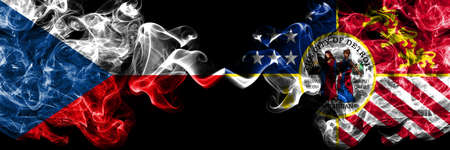 Czech Republic, Czech vs United States of America, America, US, USA, American, Detroit, Michigan smoky mystic flags placed side by side. Thick colored silky abstract smoke flags.