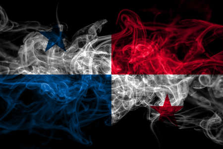 Panama, Panamanian smoke flag isolated on black background