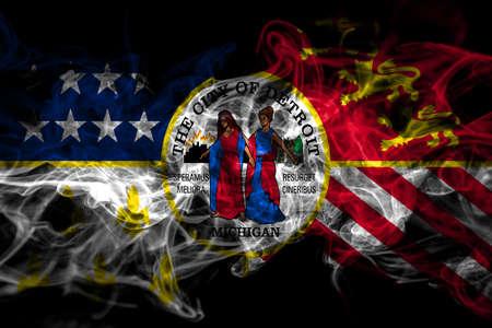 United States of America, America, US, USA, American, Detroit, Michigan smoke flag isolated on black background