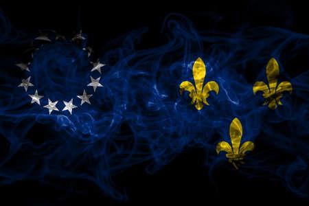 United States of America, America, US, USA, American, Louisville, Kentucky smoke flag isolated on black background