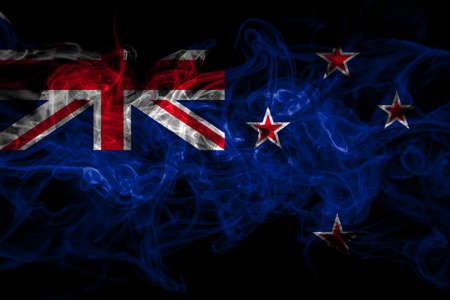 New Zealand, Kiwi smoke flag isolated on black background
