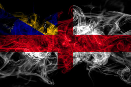 United Kingdom, Great Britain, British, Herm smoke flag isolated on black background