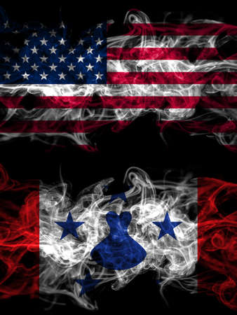 United States of America, America, US, USA, American vs Austral Islands smoky mystic flags placed side by side. Thick colored silky abstract smoke flags