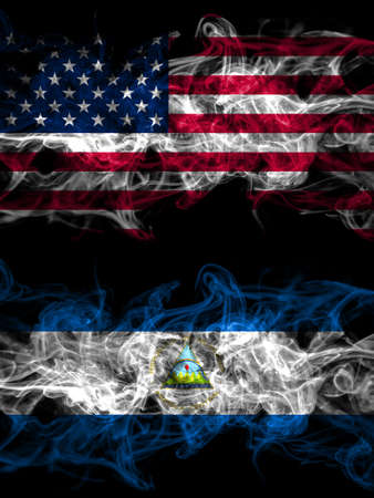 United States of America, America, US, USA, American vs Nicaragua, Nicaraguan smoky mystic flags placed side by side. Thick colored silky abstract smoke flags